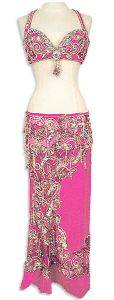 Belly Dance Costume Hot Pink with Silver