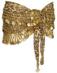 01H-Leopard Print Crochet Bead & Coins Belly Dance Hip Scarve